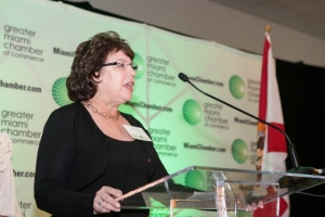 Jackie Zelman addresses the gathering at the GMCC's Technology Awards ceremony