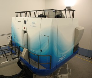The advanced 787 full-flight simulator at the Miami campus