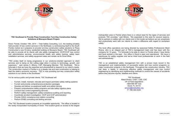 TSC Doral Press Release (10-15-14)1-2 w