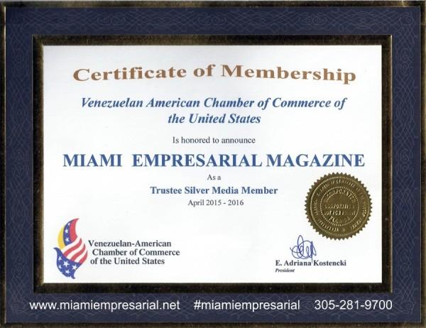 venezuela chamber membership certificate w